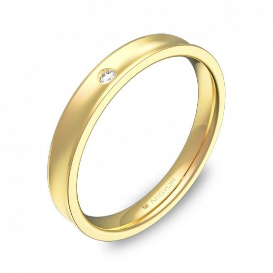 Alianza de boda oro amarillo cóncava con diamante C1330C1BA