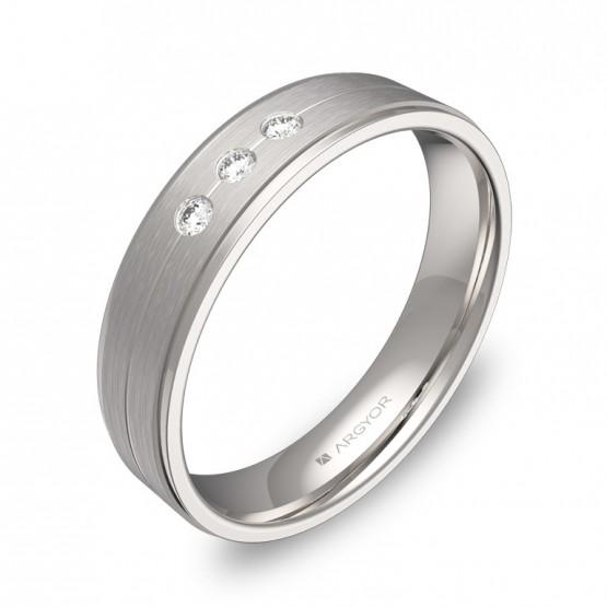 Alianza de boda en oro blanco combinado con diamantes C1245C3BB