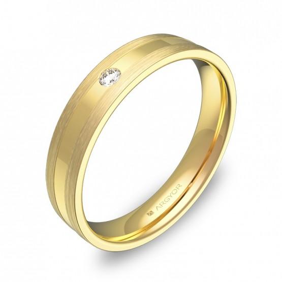 Alianza de boda con ranuras 4mm en oro amarillo con diamante C1540C1BA