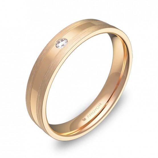 Alianza de boda 4mm oro rosa combinado con diamante C1540C1BR