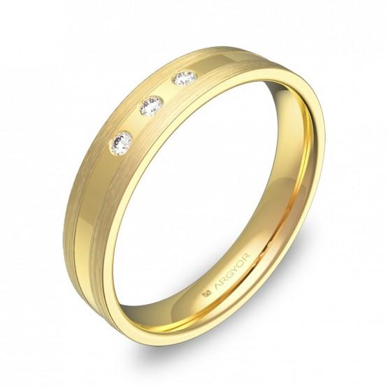 Alianza de boda 4mm en oro amarillo combinado con diamantes C1540C3BA