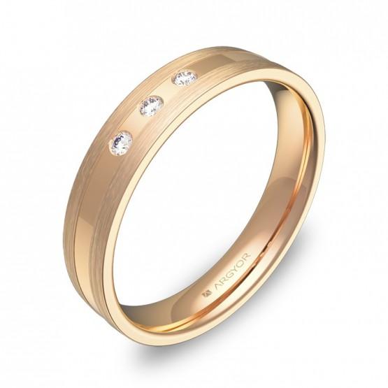 Alianza de boda plana con ranuras oro rosa con diamantes C1540C3BR