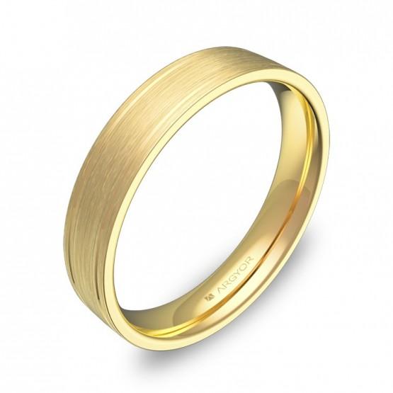 Alianza de boda plana con ranuras en oro amarillo satinado C1640S00A