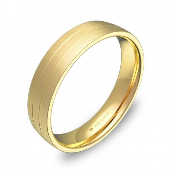 Alianza de boda con ranuras 4,5mm en oro amarillo satinado C1745S00A