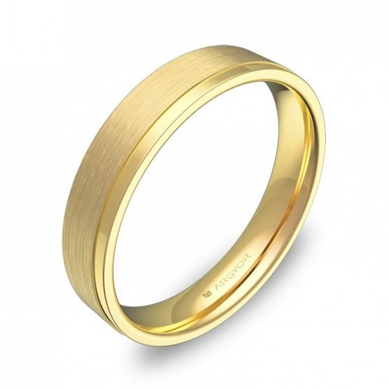Alianza de boda con ranuras 4mm en oro amarillo combinado C1440C00A