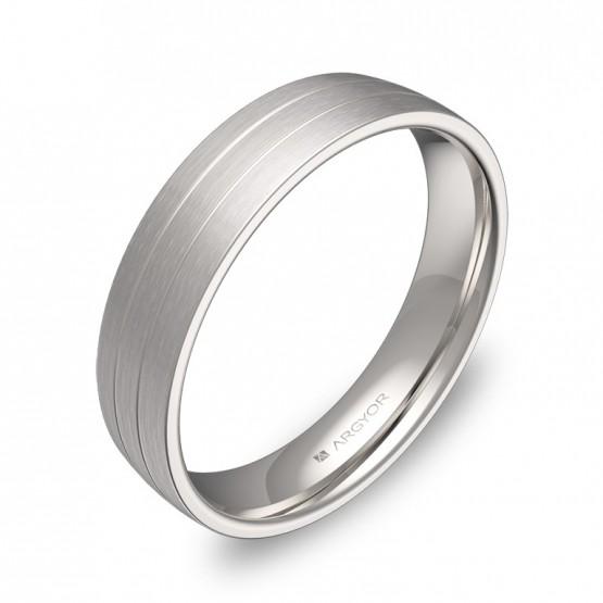 Alianza de boda con ranuras 4,5mm en oro blanco satinado C1745S00B