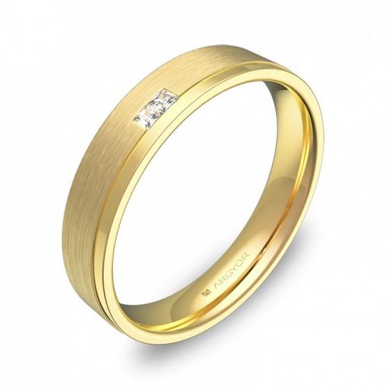 Alianza de boda plana con ranuras de oro con diamantes C1440C2PA