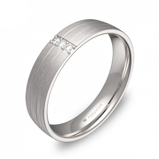 Alianza de boda de media caña en oro blanco 3 diamantes C1745S3BB