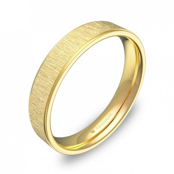 Alianza de boda plana con biseles 4mm en oro amarillo C1840C00A