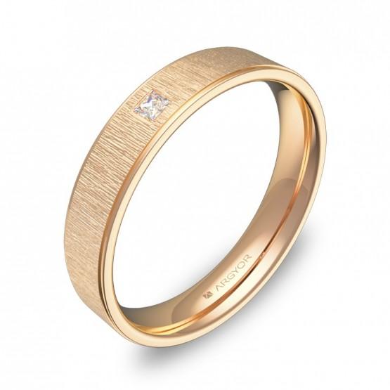 Alianza de boda plana con biseles oro rosa con diamante C1840C1PR