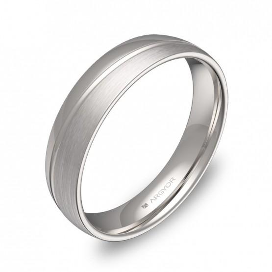 Alianza de boda 4,5mm en oro blanco combinado con ranuras C1945C00B