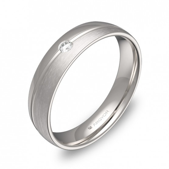 Alianza de boda de oro blanco combinado  con diamante C1945C1BB