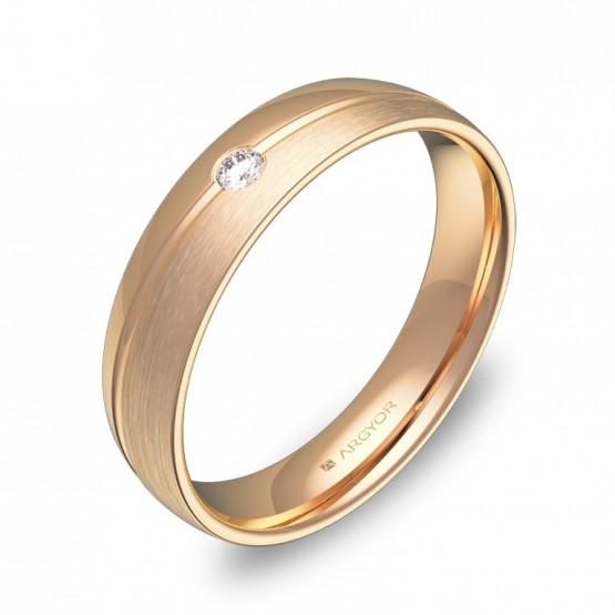 Alianza de boda 4,5mm en oro rosa combinado con diamante C1945C1BR