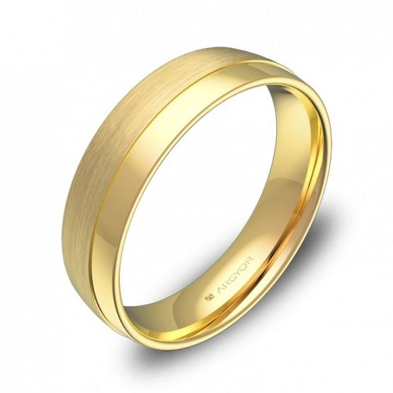 Alianza de boda con ranuras 5mm en oro amarillo combinado C2050C00A