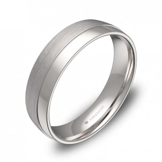 Alianza de boda de media caña con ranuras 5mm en oro blanco C2050C00B