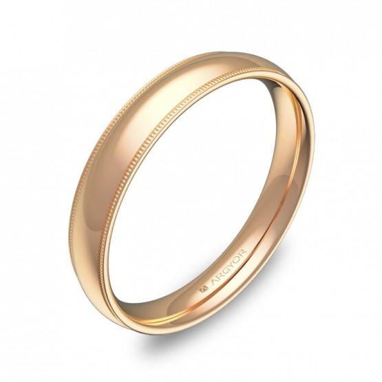 Alianza de boda con biseles 3,5mm en oro rosa pulido C2335P00R
