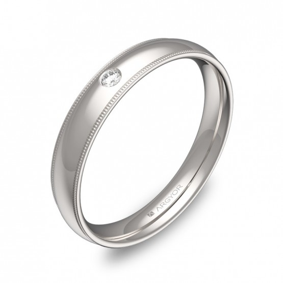 Alianza de boda 3,5mm en oro blanco pulido con diamante C2335P1BB