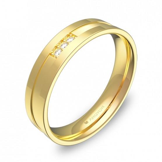 Alianza de boda plana con ranuras en oro con diamantes C2445C3BA