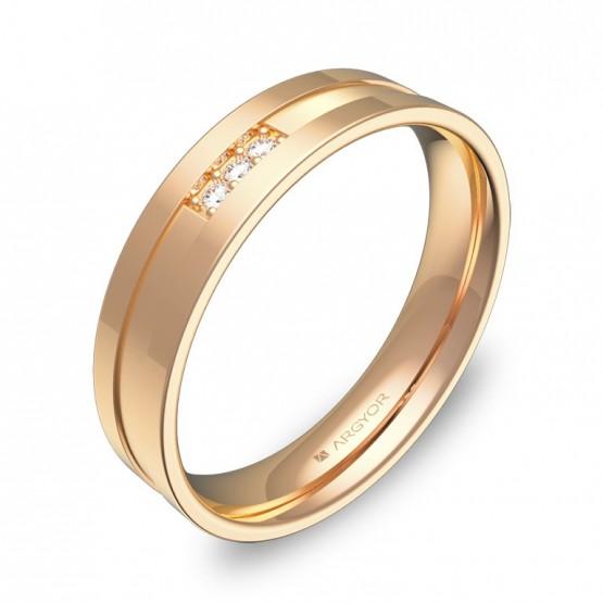 Alianza de boda 4,5mm en oro rosa combinado con diamantes C2445C3BR