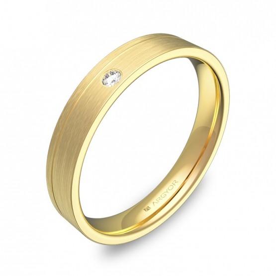 Alianza de boda plana con ranuras oro satinado con diamante C2735S1BA
