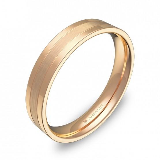 Alianza de boda plana con ranuras 4mm en oro rosa combinado C2540C00R