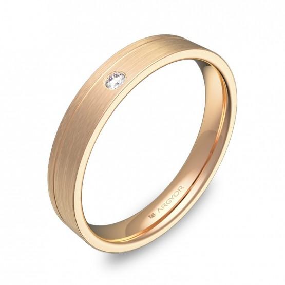 Alianza de boda plana con ranuras en oro rosa con diamante C2735S1BR