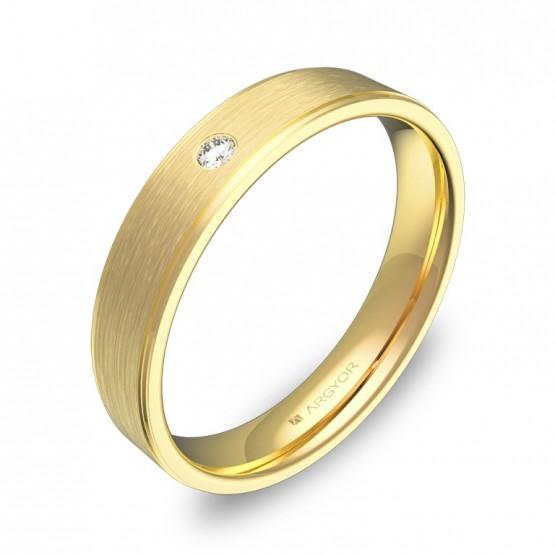 Alianza de boda con biseles 4mm oro amarillo con diamante C2640C1BA