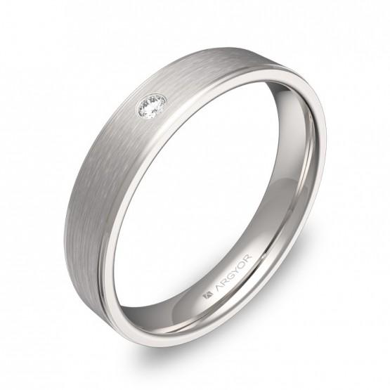 Alianza de boda con biseles en oro blanco con 1 diamante C2640C1BB