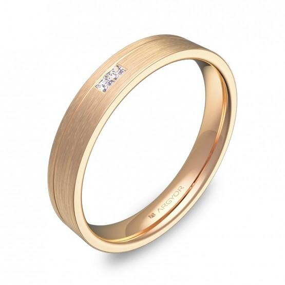 Alianza de boda 3,5mm oro rosa satinado 2 diamantes C2735S2PR