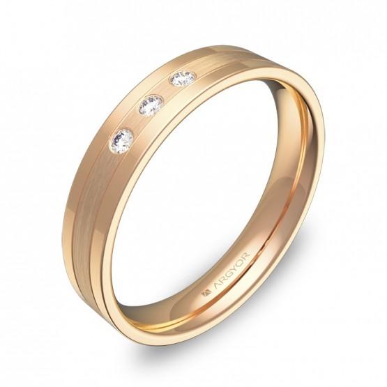 Alianza de boda con ranuras 4mm en oro rosa y diamantes C2540C3BR