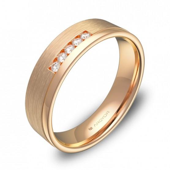 Alianza de boda plana con ranuras oro rosa con diamantes C2850C5BR