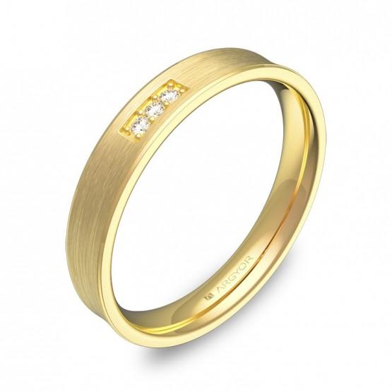 Alianza de boda cóncava 3,5mm en oro amarillo con diamantes C3035S3BA