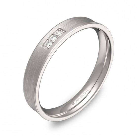 Alianza de boda cóncava en oro blanco satinado con diamantes C3035S3BB