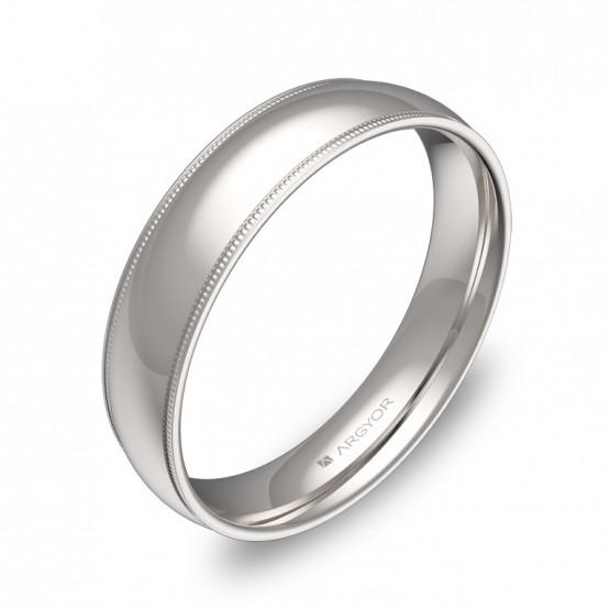 Alianza de boda de oro blanco con biseles 4,5mm  C3145P00B