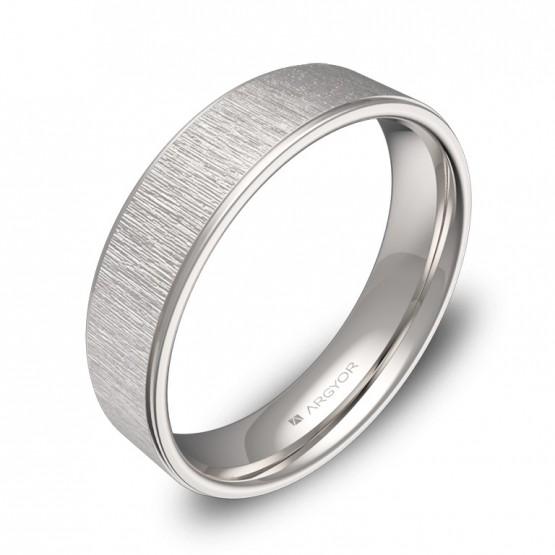 Alianza de boda 5mm con biseles en oro blanco combinado C2950C00B