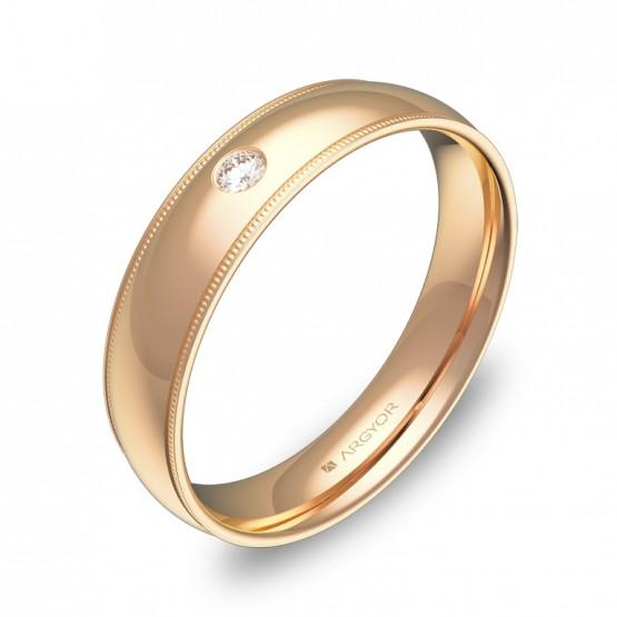 Alianza de boda con biseles 4,5mm en oro rosa con diamante C3145P1BR