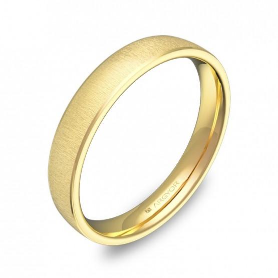 Alianza de boda con biseles 3,5mm en oro amarillo textura C3235T00A