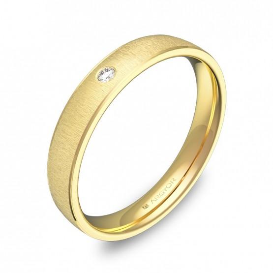 Alianza de boda de media caña con biseles en oro y diamante C3235T1BA