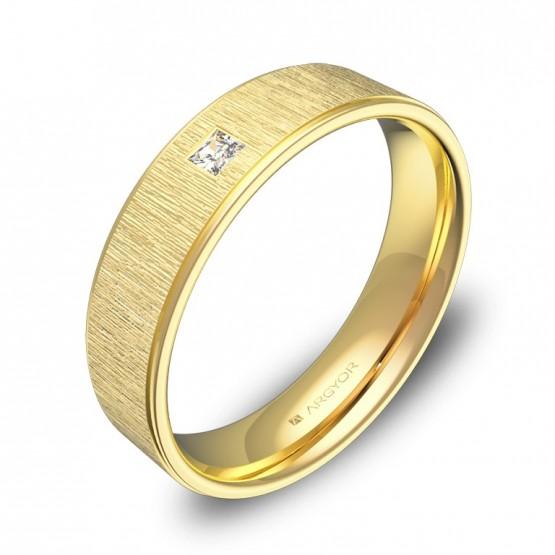 Alianza de boda con biseles 5mm en oro amarillo y diamante C2950C1PA