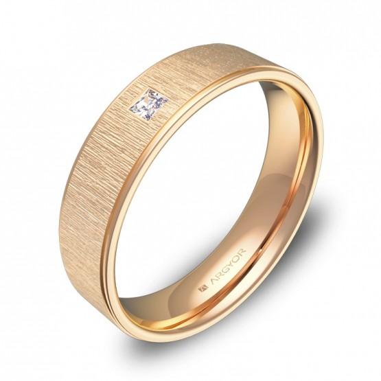 Alianza de boda plana con biseles oro rosa con diamante C2950C1PR