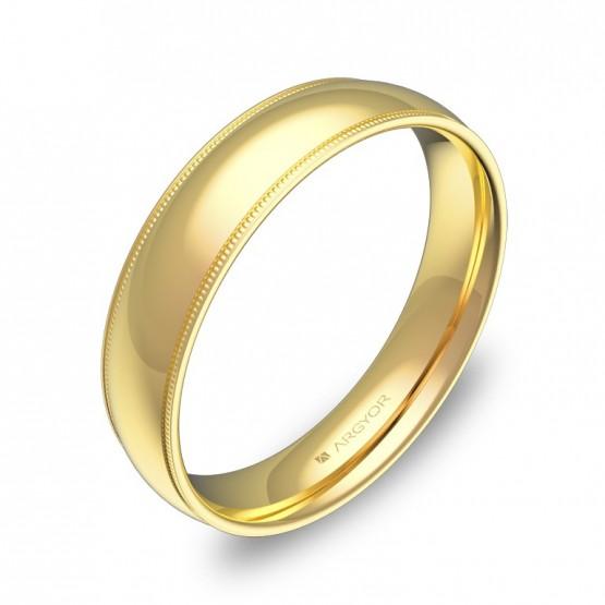 Alianza de boda de media caña con biseles en oro pulido C3145P00A