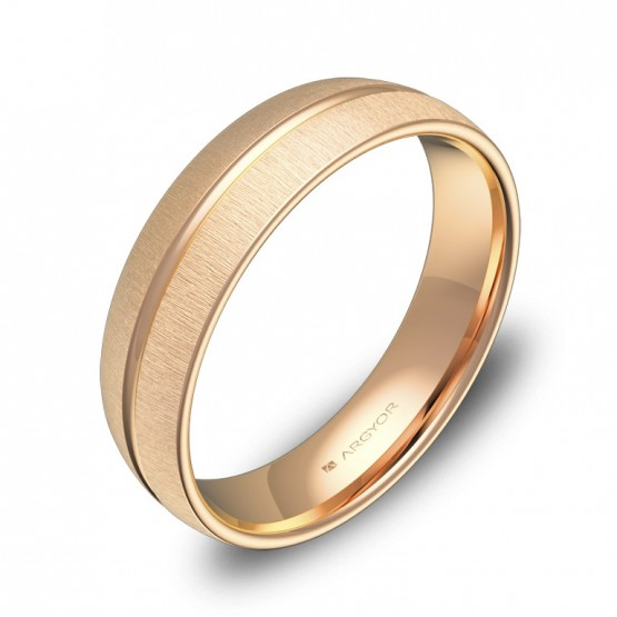 Alianza de boda con ranuras 5mm en oro rosa textura C3350T00R