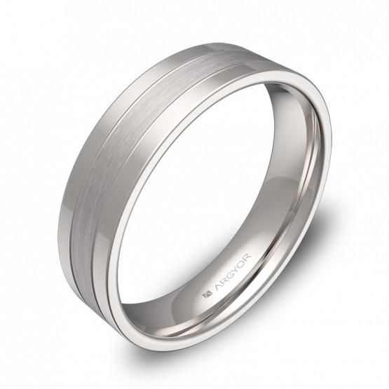 Alianzade boda plana con ranuras 5mm en oro blanco combinado C3450C00B