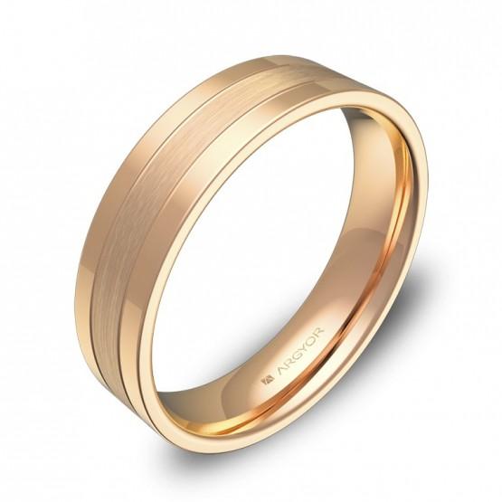 Alianza de boda plana con ranuras 5mm en oro rosa combinado C3450C00R