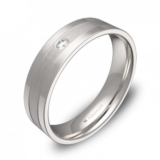 Alianza de boda de oro blanco con ranuras y diamante C3450C1BB