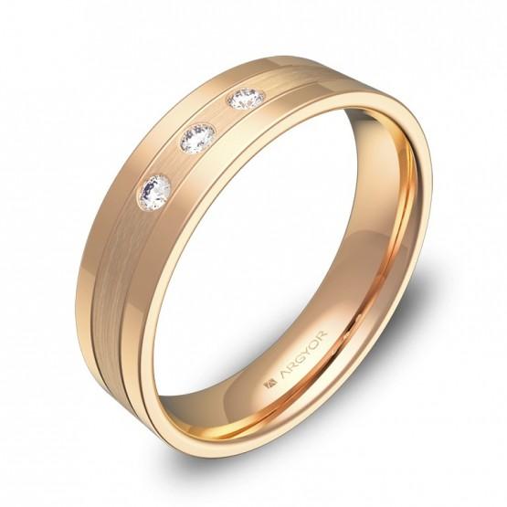Alianza de boda plana con ranuras 5mm oro rosa con diamantes C3450C3BR