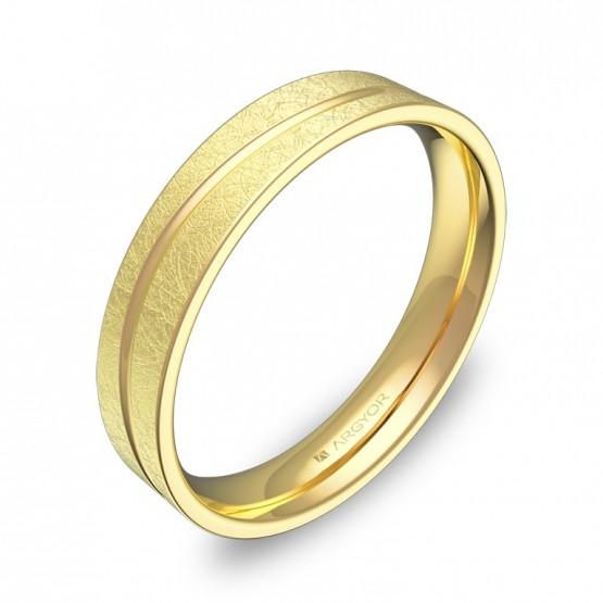 Alianza de boda plana con ranuras 4mm en oro amarillo hielo C3640H00A