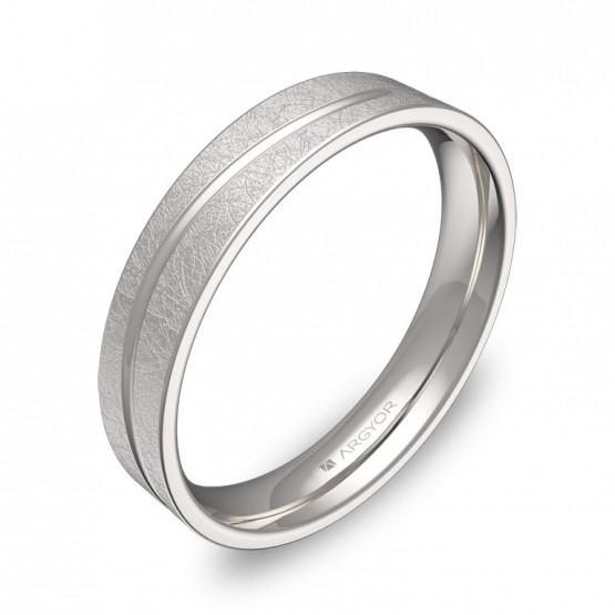 Alianza de boda plana con ranuras 4mm en oro blanco hielo C3640H00B