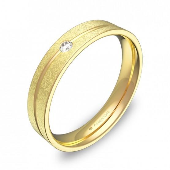 Alianza de boda con ranuras 4mm en oro hielo con diamante C3640H1BA