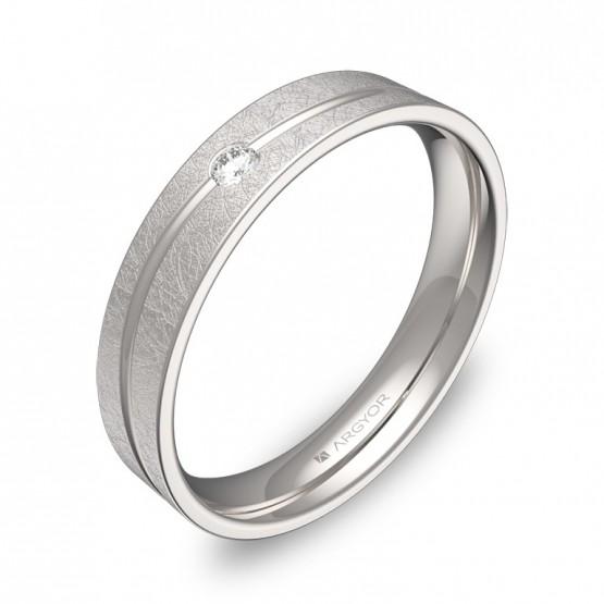 Alianza de boda con ranuras 4mm en oro blanco con diamante C3640H1BB